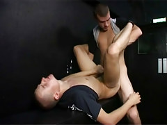 Horny hooligans have risky gay fucking in a public stairwell in 4 video