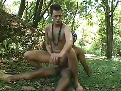 Twofold latin and black guys go at it in the woods hardcore in 3 video