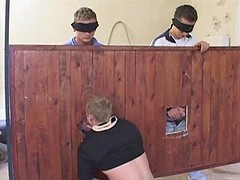 Gang of young gays have group blow job fun in the barn