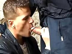 Policeman forces stud to suck him in in the past street