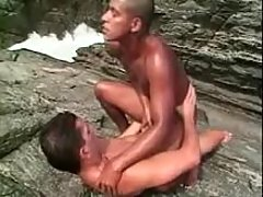Black twink takes white cock in ass