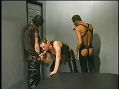 Leather clothes men having gay guy love making act in 1 movie scene