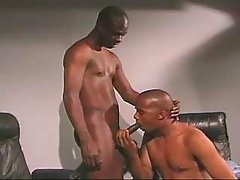 Darksome gay guy slut serving hungry hunk