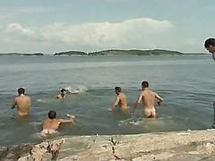 Big number of gay guys have fun in lake