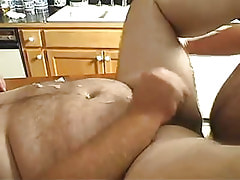 Horny mature gay guy cums on table