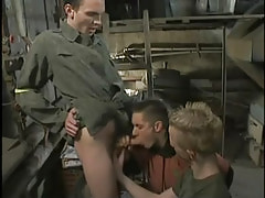 Two gay boys swallow big cock by turns