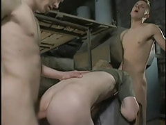 Dirty twinks fuck bareback in threesome