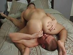 Sexy man-lover spreads buttocks for boyfriend