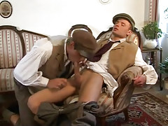 Young gay sucks tasty cock