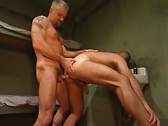 Horny melodious prisoner drills poor guy