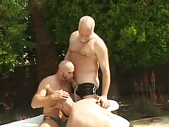 Full-grown unshaved gays suck each other outdoor