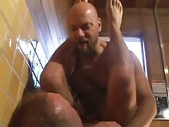 Mature bear homosexuals fuck in shower