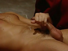 Hairy gay cums right after hard anal