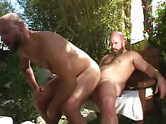 Hairy gay jumps on subrigid weenie outdoor
