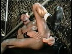 Bushy gay man dildofucks and cums