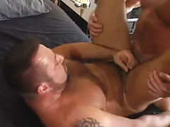Mature bear faggot cums with cock in his asshole