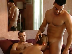 Concupiscent bear gay plays with guys