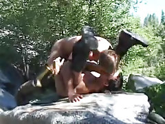 Muscle gay men hard fuck by river