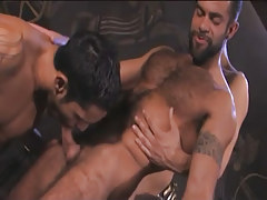 Bushy Arabian gays throat cocks in pyramid