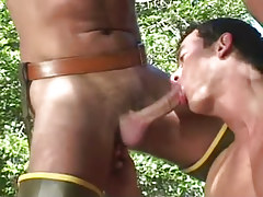 Sexually excited gay man sucks wang in nature