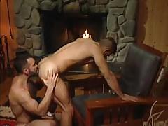 Bear gay licks appetizing ass by fireplace