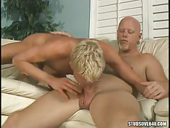 Blond adolescent gay sucking horny daddy