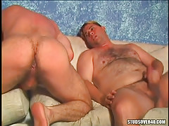Hairy gays jerk off and spread hard buttocks