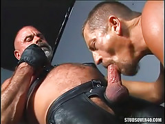 Mature gay sucks old hairy friend in leather