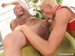 Hot blond lad throats appetizing pecker of bear