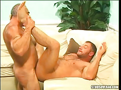 Hairy gay ducked by silver father