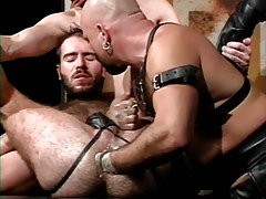 Curly dilf fistfucked by mature bear man in s&m orgy
