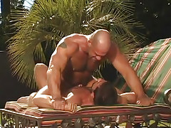 Hairy gay man extreme jumps on cock in nature