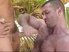 Bear gay man gets cum in forest