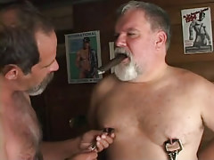 Lusty old man-lovers caress nipples with cigar