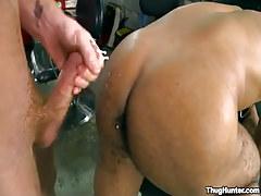 Darksome stud gets cream on supple bottom cheeks