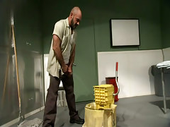 Bear gay cleaner chemical play in clinic