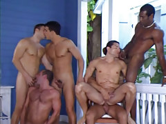 Six interracial homosexual guys suck and fuck by pool