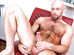 Hairy daddy wanks his cock until this dude cums all over furry body