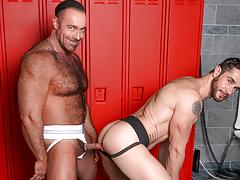 Dean & Brad pull their cocks from their jocks at the lockers