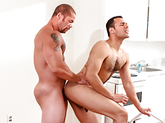Matt eats out AJ's moist ass before AJ begs Matt to fuck him