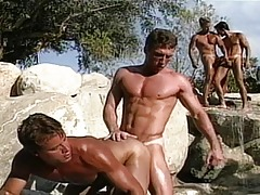 Very hot guys are next to the pool and they suck and fuck !
