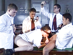 Blindfolded student is initiated to a moist frat boi gang sex grouping